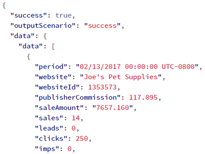 Screenshot of API output with same data as CJ report