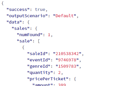 Screenshot of API output with Stubhub sales data (same data)