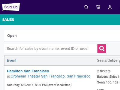 Screenshot of Stubhub sales page